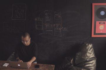 Man Sitting In Front of Chalkboard